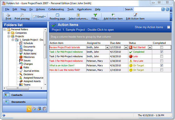 ProjectTrack 2007 - Personal Edition, Productivity Software Screenshot