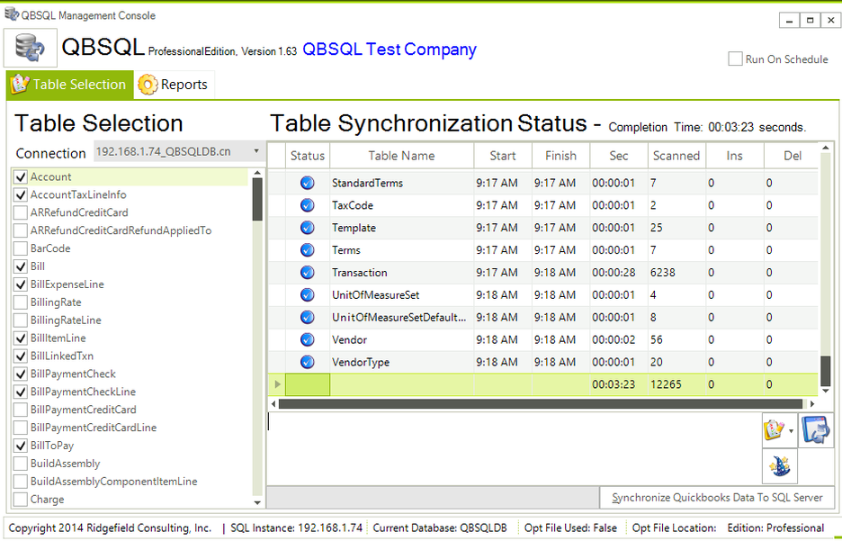 QBSQL, Accounting Software Screenshot