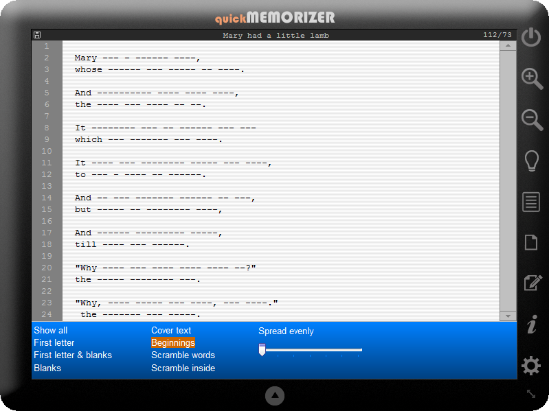quick Memorizer, Educational Software Screenshot