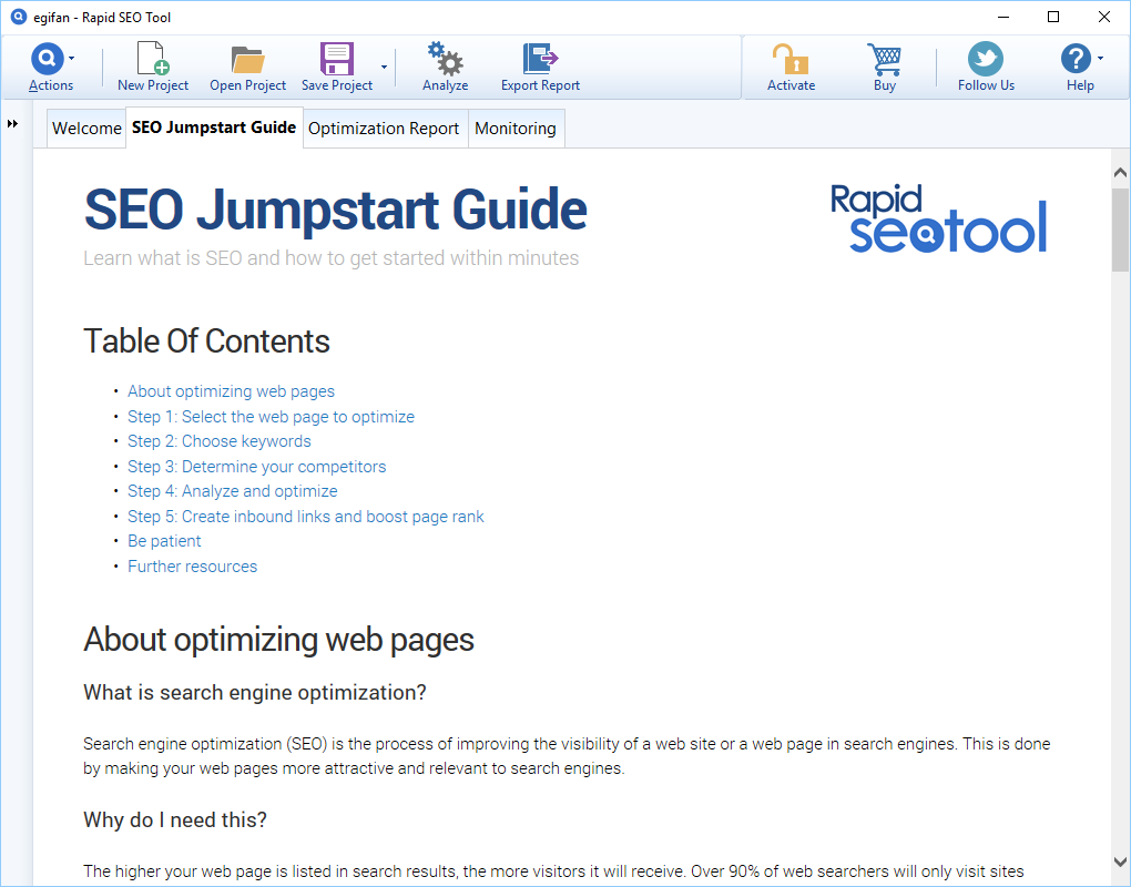 SEO / Keyword Software, Rapid SEO Tool Screenshot