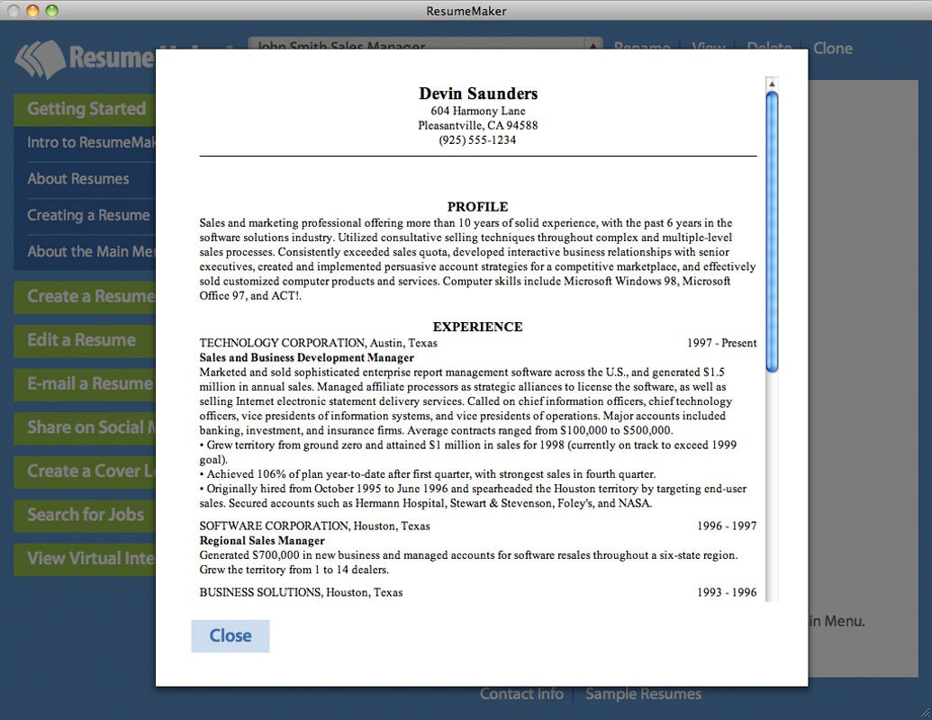 Resume Maker for Mac, Business Management Software Screenshot