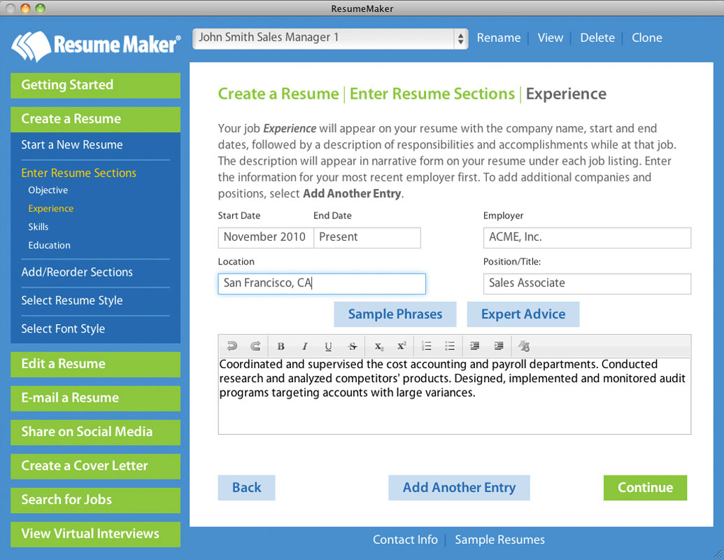 exle resume resume builder mac os x