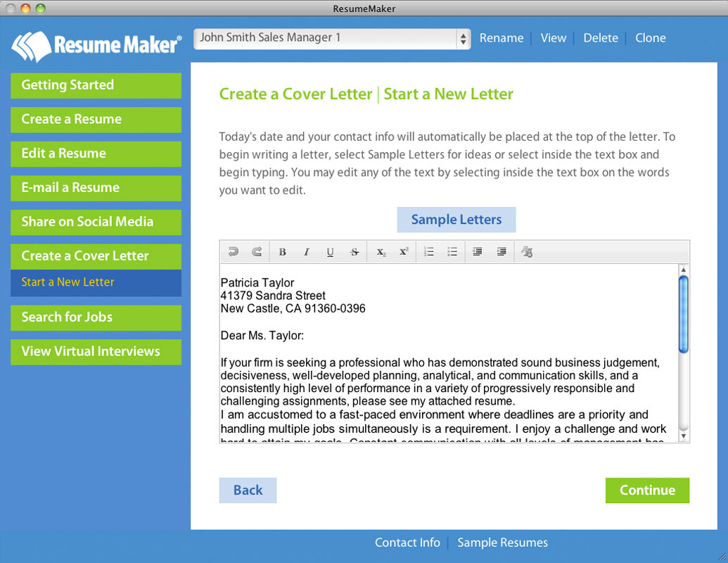 Resume Maker for Mac, Business & Finance Software Screenshot