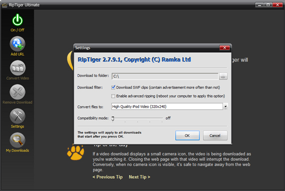 RipTiger Full, Online Video Software Screenshot