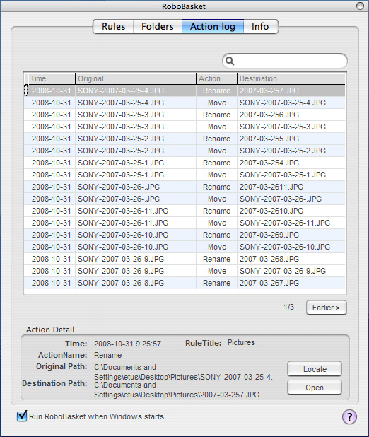 RoboBasket, File Management Software Screenshot