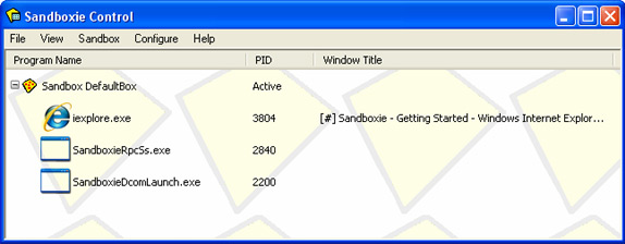 Sandboxie Personal Screenshot
