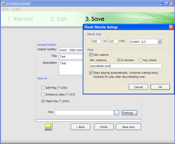 SCREEN2SWF, Video Software Screenshot