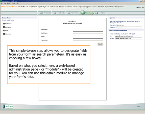 SeaGreen, Development Software Screenshot