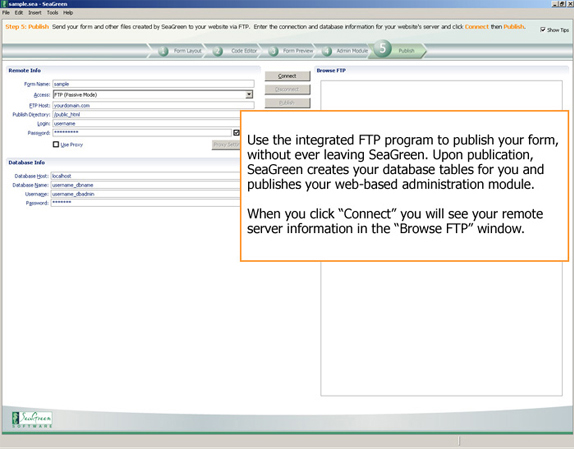 HTML Form Software, SeaGreen Screenshot
