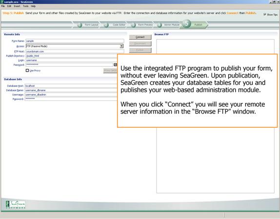 HTML Form Software, SeaGreen Screenshot
