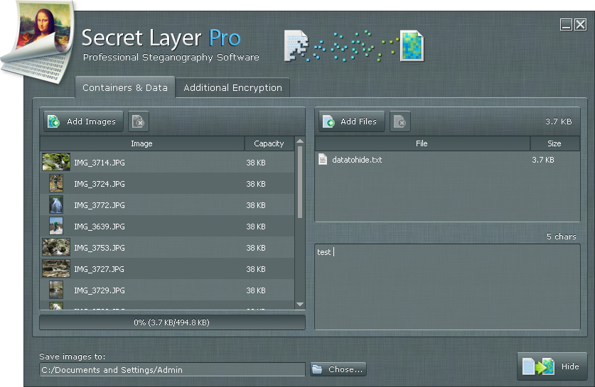 SecretLayer, Security Software Screenshot