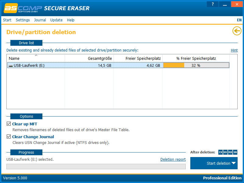 Secure Eraser, Deletion Software Screenshot