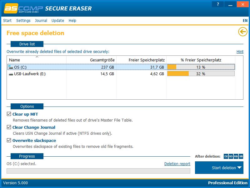 Secure Eraser, Security Software Screenshot