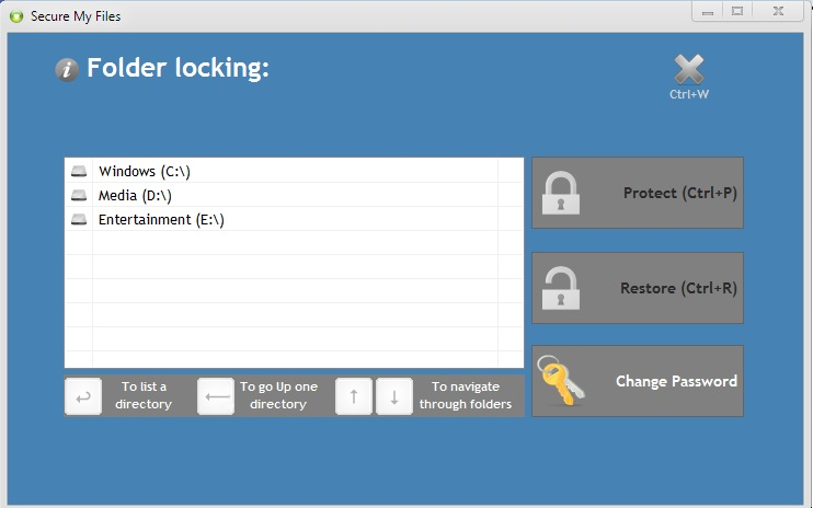 Secure My Files, Encryption Software Screenshot