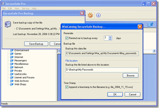 SecureSafe Pro, Security Software, Password Manager Software Screenshot