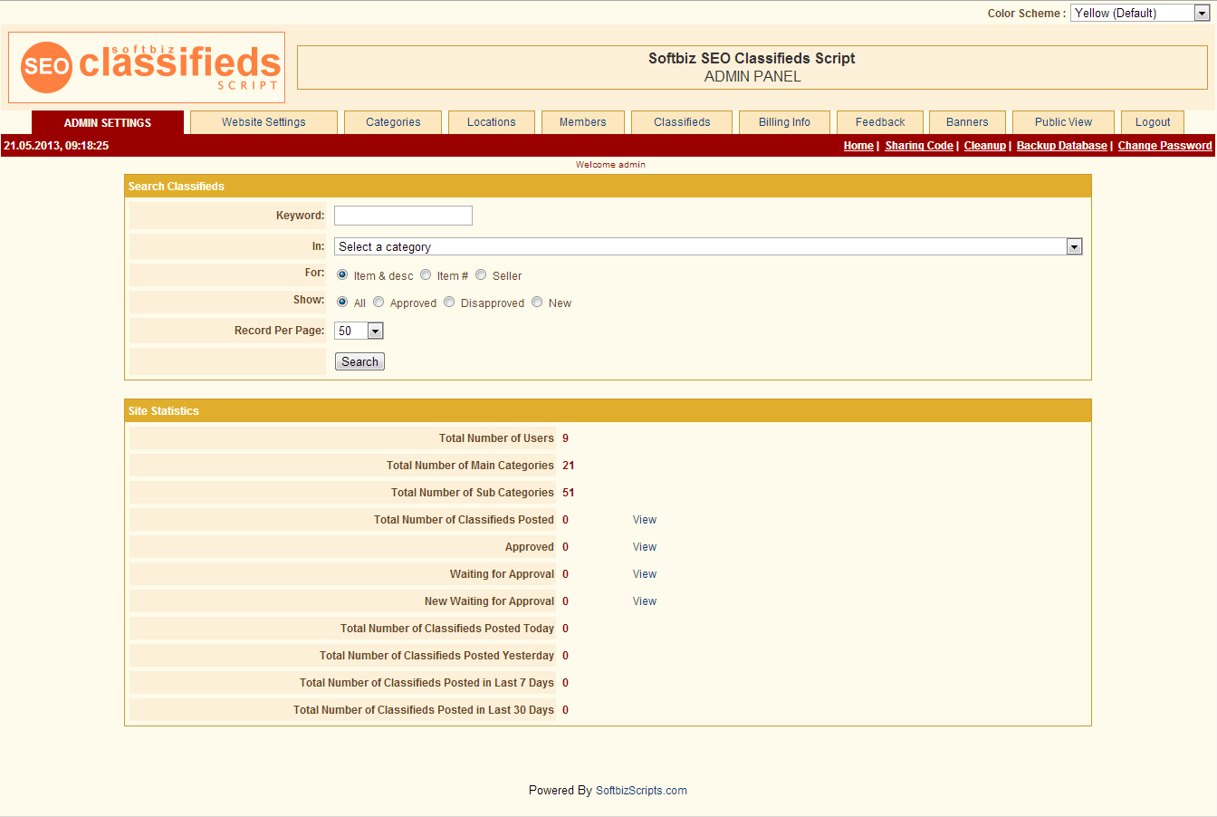 SEO Classifieds Script, Website Builder Software Screenshot