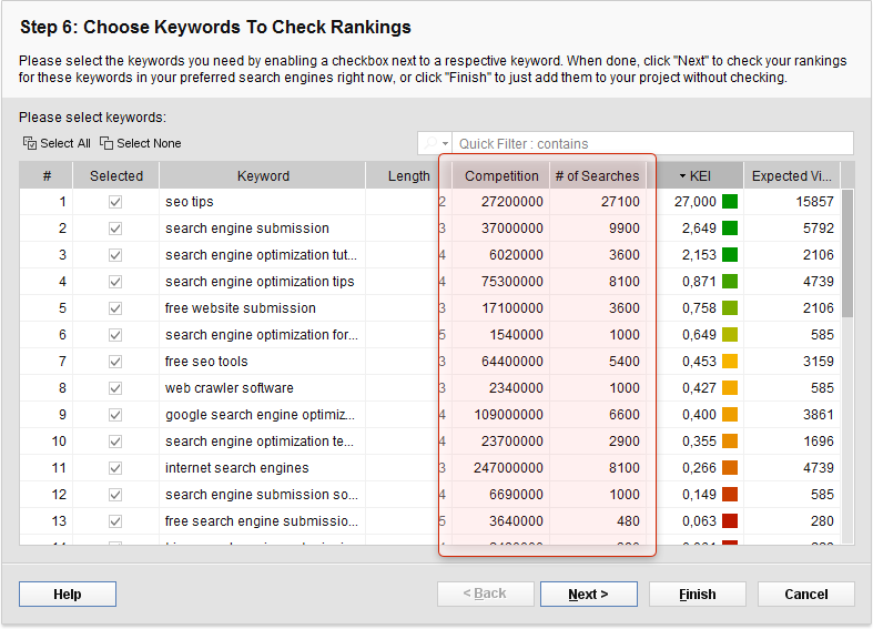 SEO / Keyword Software Screenshot