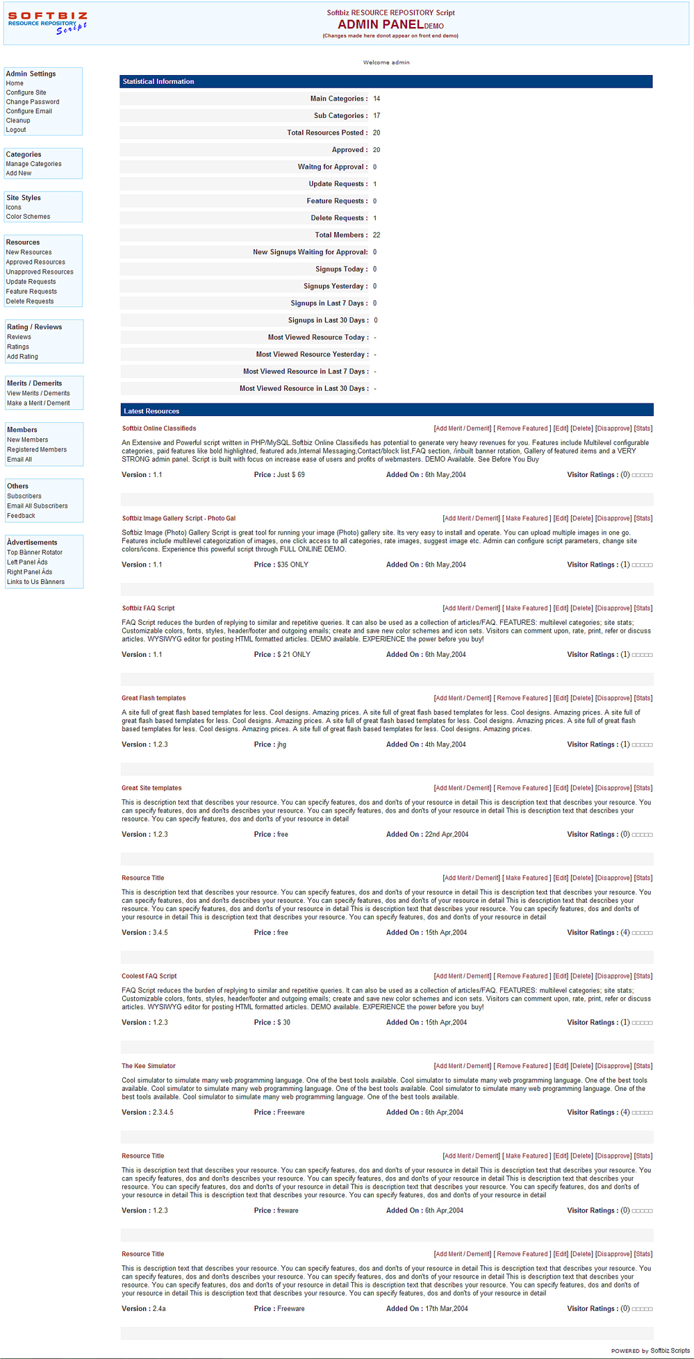 SEO Resource Directory Script, Website Builder Software Screenshot
