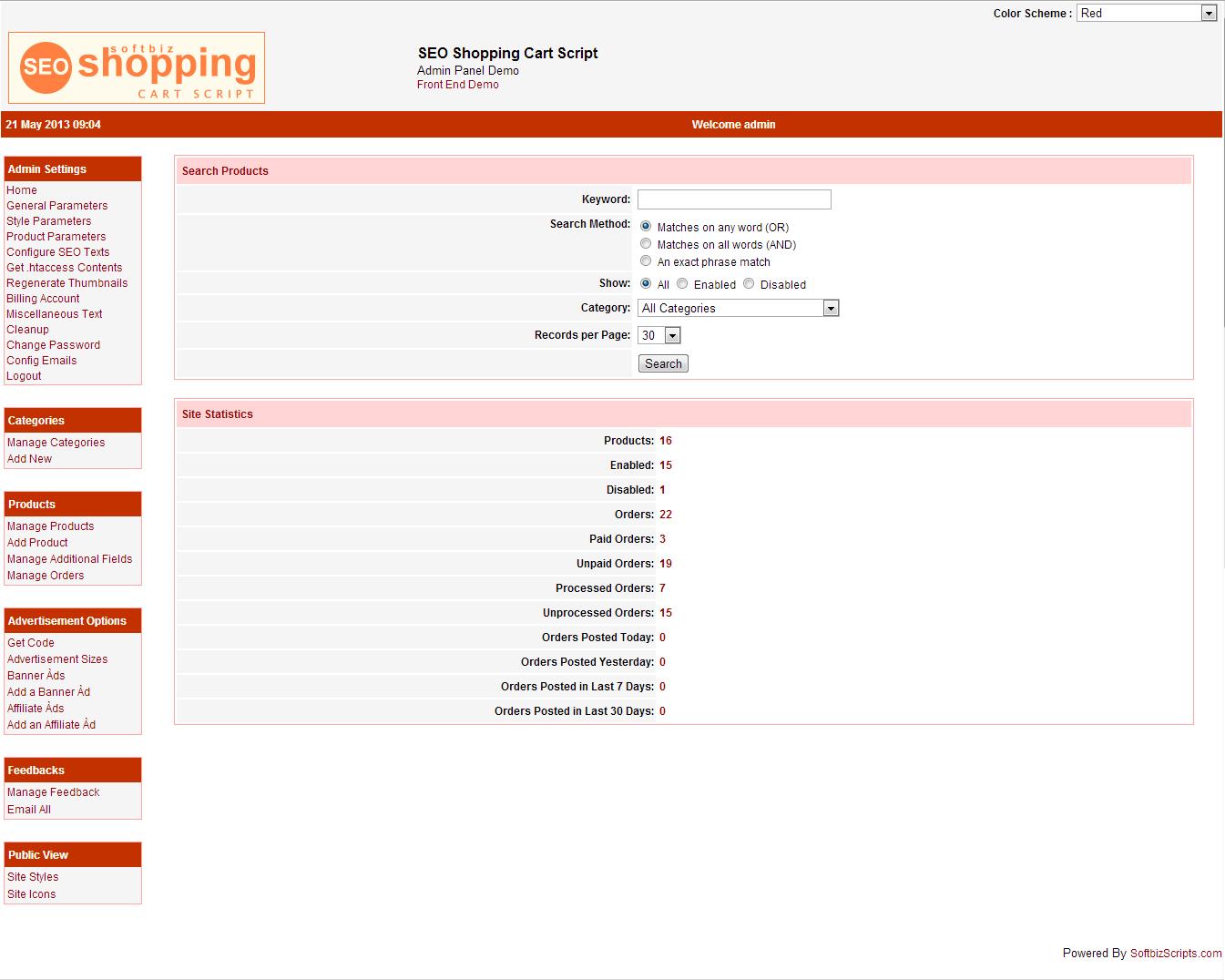 SEO Shopping Cart Script, Website Builder Software Screenshot
