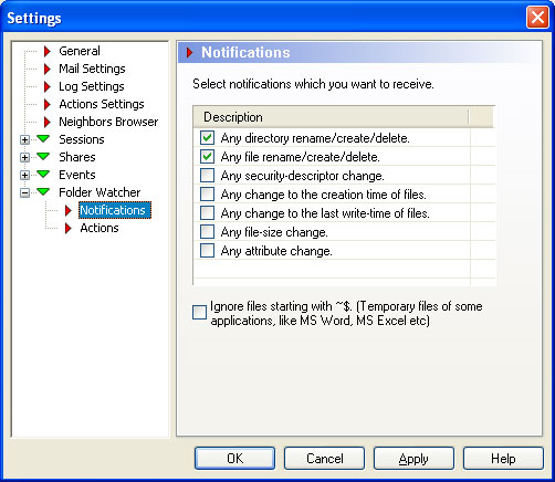 ShareAlarmPro, Security Software Screenshot