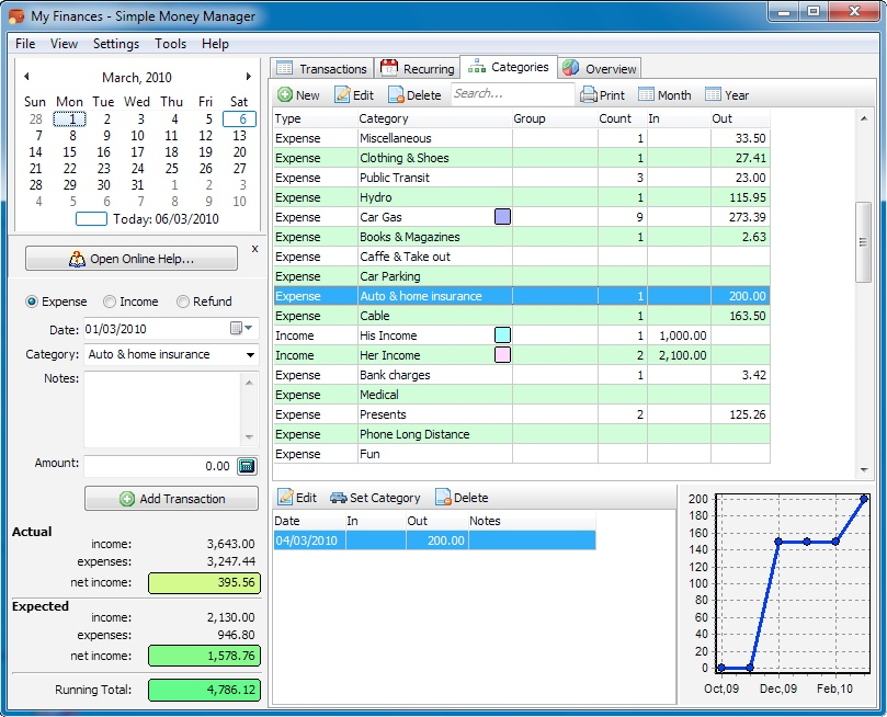 Simple Money Manager Standard, Personal Finance Software Screenshot