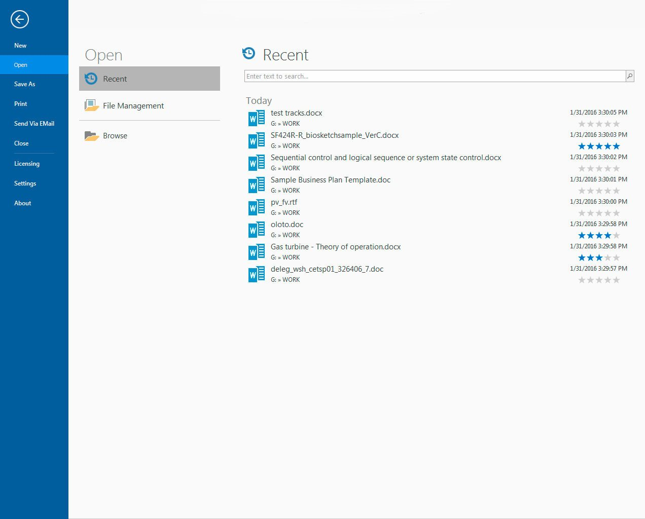 Word Processing Software Screenshot