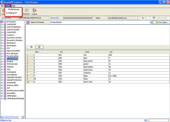 Database Management Software, SimpleDB Explorer Screenshot