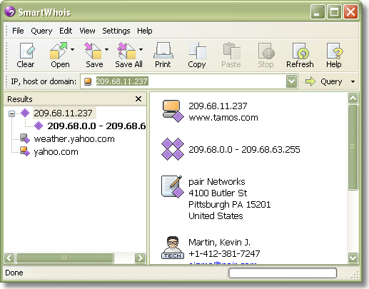 Network Software, SmartWhois Screenshot