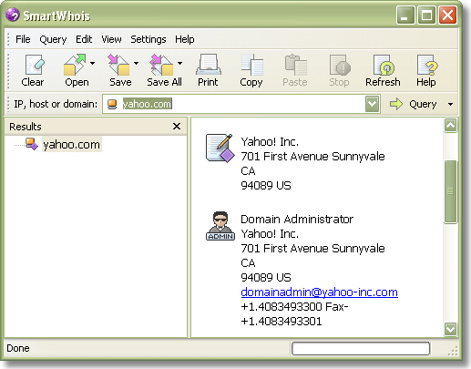 SmartWhois, Internet Software Screenshot