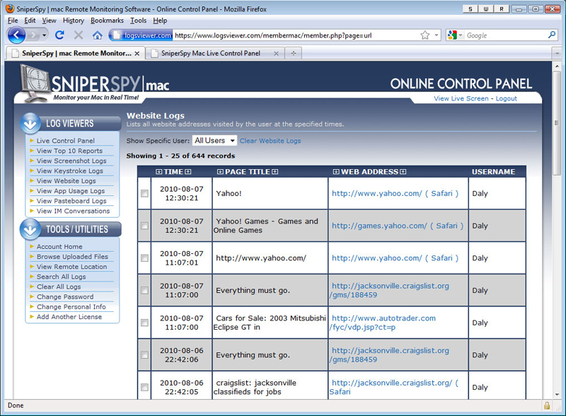 SniperSpy, Security Software Screenshot