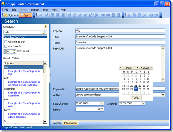 SnippetCenter Professional, Productivity Software Screenshot