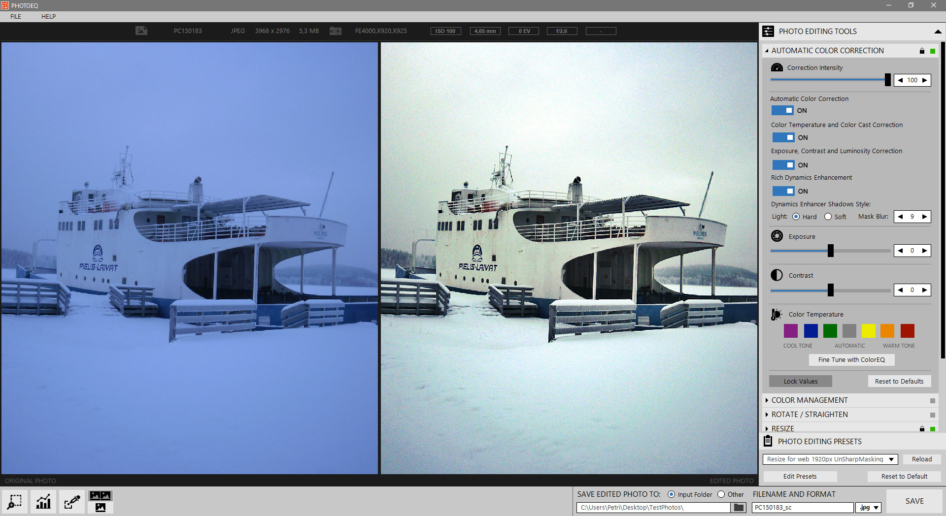Photo Editing Software, SoftColor PhotoEQ Screenshot