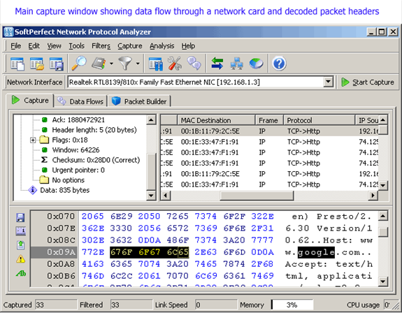 Network Analyzer Software : Softperfect network protocol analyzer software