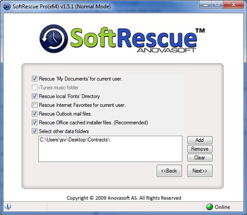 SoftRescue Pro Edition, Security Software Screenshot