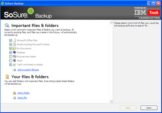Backup Cloud Software Screenshot