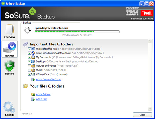 Security Software, SoSure - Online Backup Screenshot