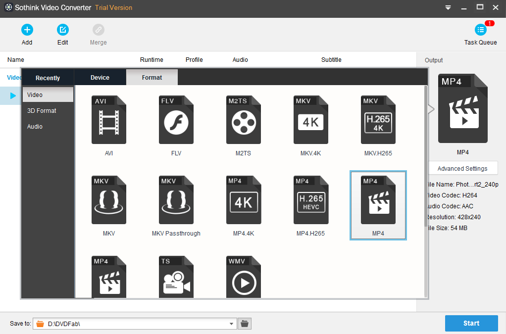 Sothink Video Converter Screenshot