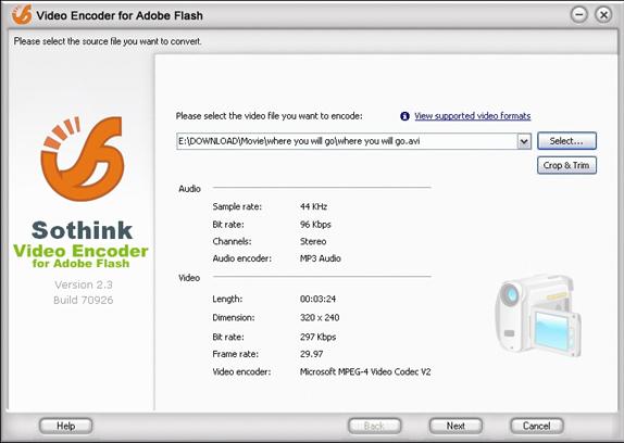 Sothink Video Encoder for Adobe Flash Screenshot