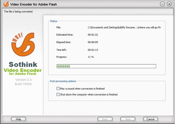 Video Converter Software, Sothink Video Encoder for Adobe Flash Screenshot