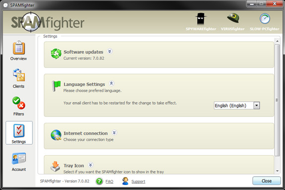 SPAMfighter Pro, Internet Software Screenshot
