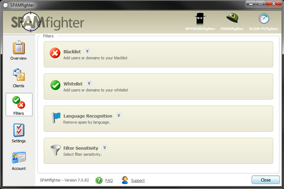 SPAMfighter Pro, Email Tools Software Screenshot