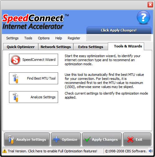 PC Optimization Software, SpeedConnect Internet Accelerator Screenshot