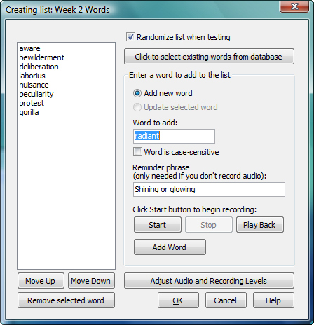 SpellQuizzer Spelling Software, Educational Software Screenshot