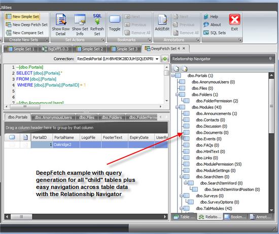 SQL Sets, Database Software Screenshot