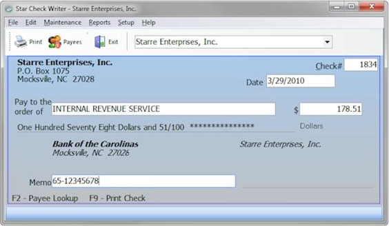 Star Check Writer Screenshot