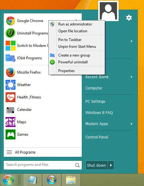 Start Menu 8, Desktop Customization Software Screenshot