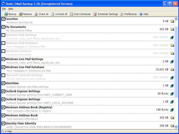 Static EMail Backup Screenshot