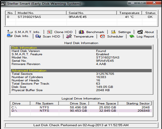 Stellar Smart - Hard Drive Monitor for Windows Screenshot