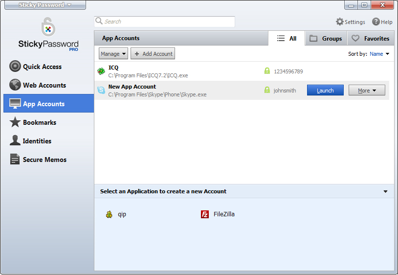 Sticky Password, Access Restriction Software Screenshot