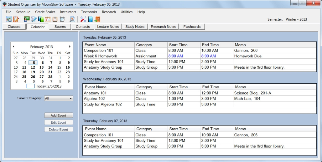 Organization Software, Student Organizer Screenshot